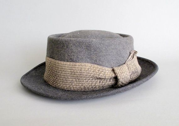 Vintage 1950s MENS Hat : 50s Grey Pork Pie Fedora (With images .