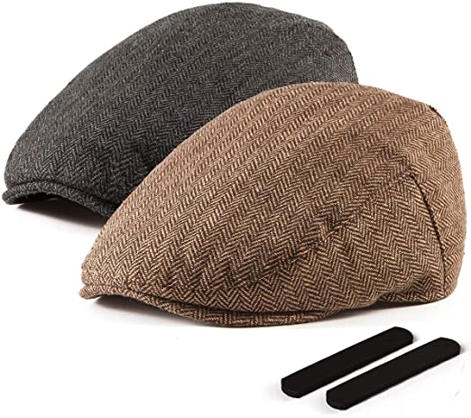 LADYBRO 2 Pack Newsboy Hats for Men Wool Scally Cap Mens Flat .
