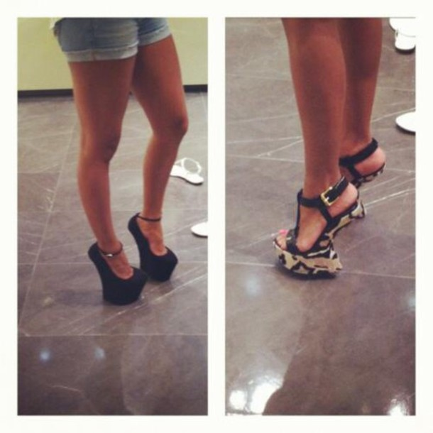 shoes, heels, heelless heels, black, black high heels - Wheretog