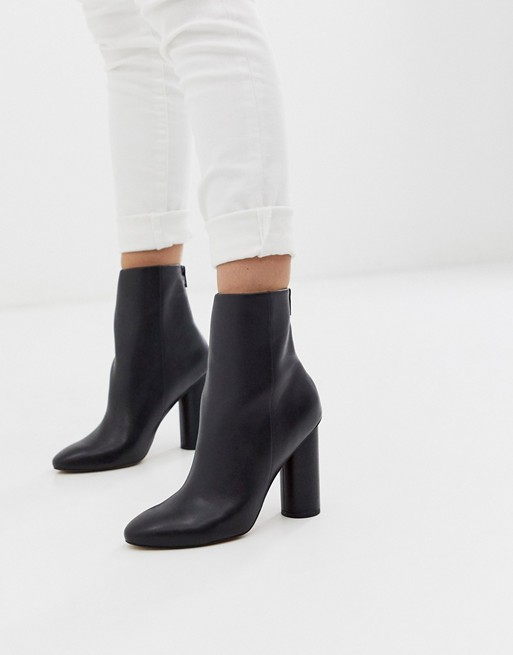 ASOS DESIGN Egypt leather heeled boots in black | AS