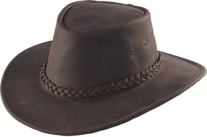 Henschel Hats AUSTRALIAN Cowhide Leather braided band 3in. Brim .