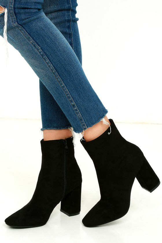 Stylish Black Suede Boots - Fitted Black Booties - Heeled Boo