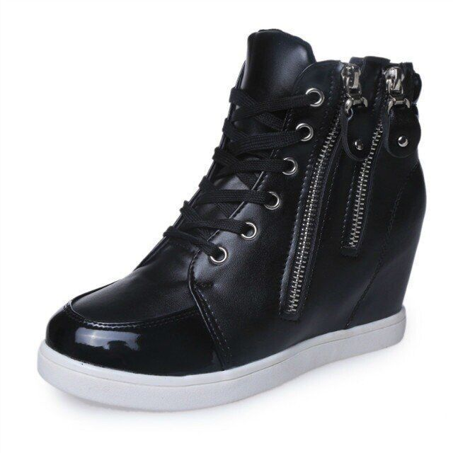 Brand New Girls high heels Sneakers PU leather 7cm height .