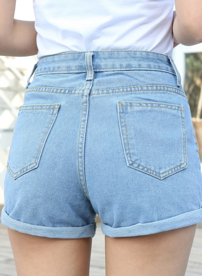 High Waist Wide Leg Rolled-Up Loose Denim Shorts With Pockets .