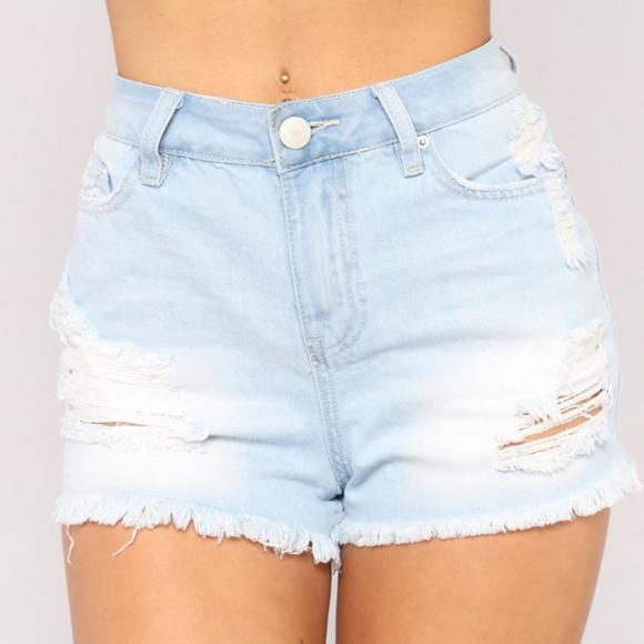 Fashion Nova Shorts | Ripped High Waisted Denim Jean | Poshma