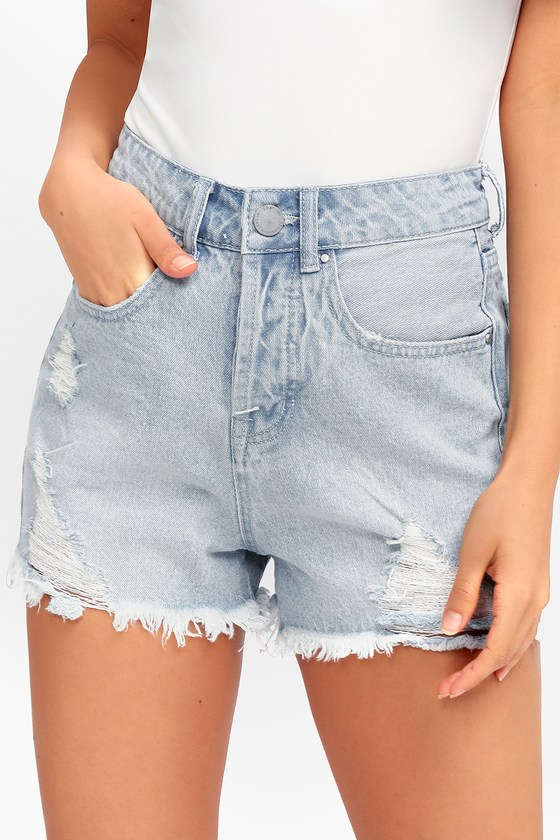 Cute Light Wash Denim Shorts -Distressed High Waisted Shor