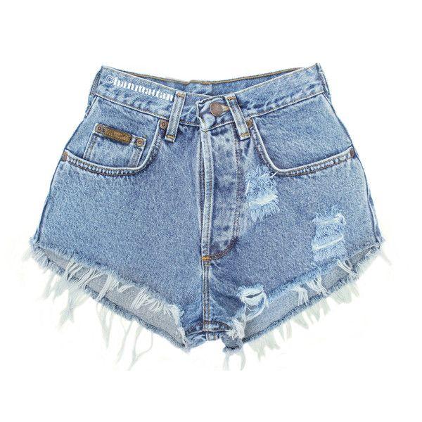 "ALL SIZES ""PLAINO"" Vintage Levi high-waisted denim shorts blue ."