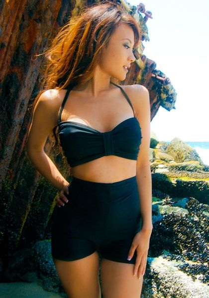 BIG SALE// black high waisted swimsuit xsxL by meshalo on Etsy .