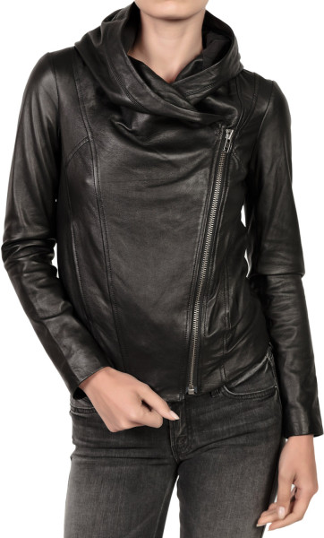 WOMEN'S HOODED LEATHER JACKET, WOMENS LEATHER JACKETS, WOMEN .