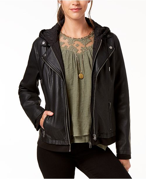 Style & Co Hooded Faux-Leather Jacket, Created for Macy's .