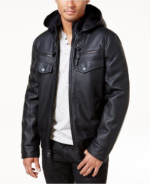 INC International Concepts INC Men's Faux Leather Hooded Bomber .
