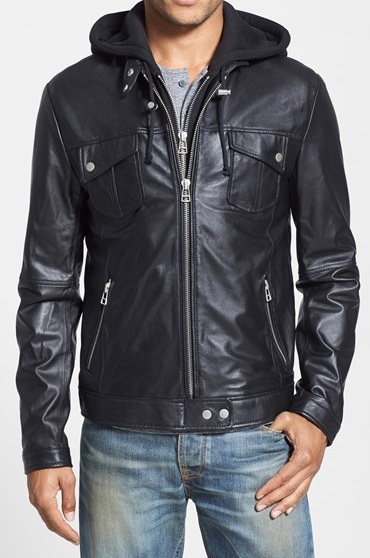 MENS HOODED LEATHER JACKET, MEN BLACK BIKER LEATHER JACKET, MEN .