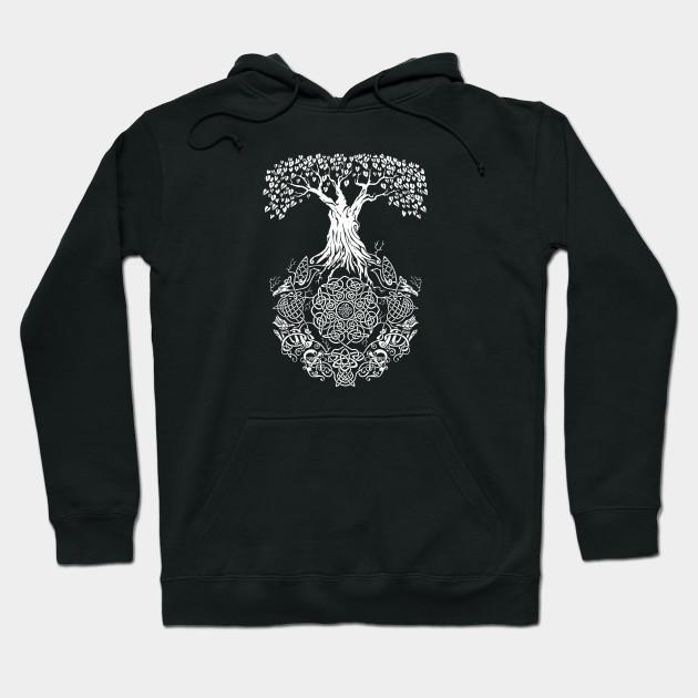 Back Design Yggdrasil Tree of Life Viking Shirts - Viking - Hoodie .