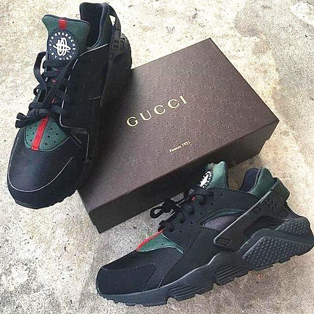Nike Gucci Drops the Air Huarache Ultra Sports shoes Black&green .