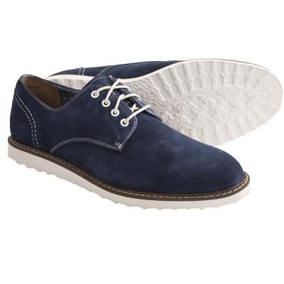 Hush Puppies Derby Wedge Shoes Water Resistant Suede Navy Suede .