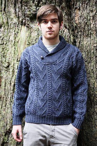 Mens Aran Cowl Neck Sweater SH4177 - Aran Sweaters Irish Sweaters .