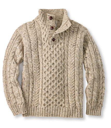 Heritage Sweater, Irish Fisherman's Button-Mock | Knitwear men .