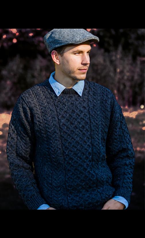 Mens Irish Wool Aran Sweater | Boyne Valley Knitwear .
