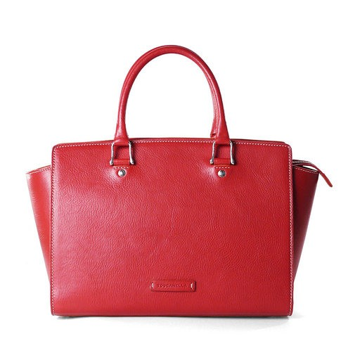 Leather East West double handle Handbag for Women Made in Italy .