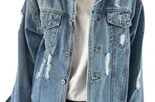 JUDYBRIDAL Oversize Denim Jacket for Women Ripped Jean Jacket .