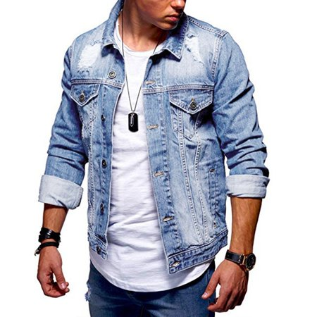 SySea - Male Ripped Jeans Coat Men Casual Denim Jacket - Walmart .