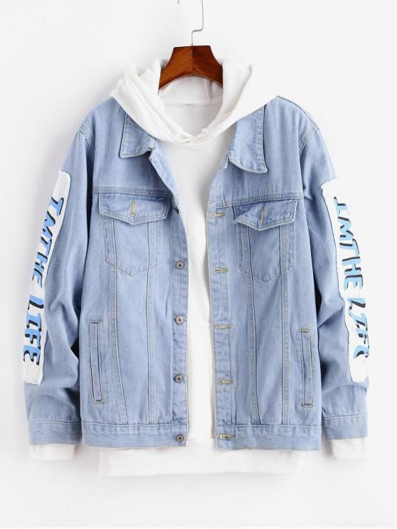 47% OFF] 2020 Graphic Printed Casual Denim Jacket In JEANS BLUE .