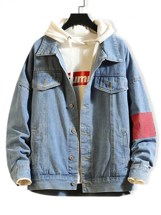 39% OFF] 2020 Graphic Pattern Button Up Denim Jacket In JEANS BLUE .