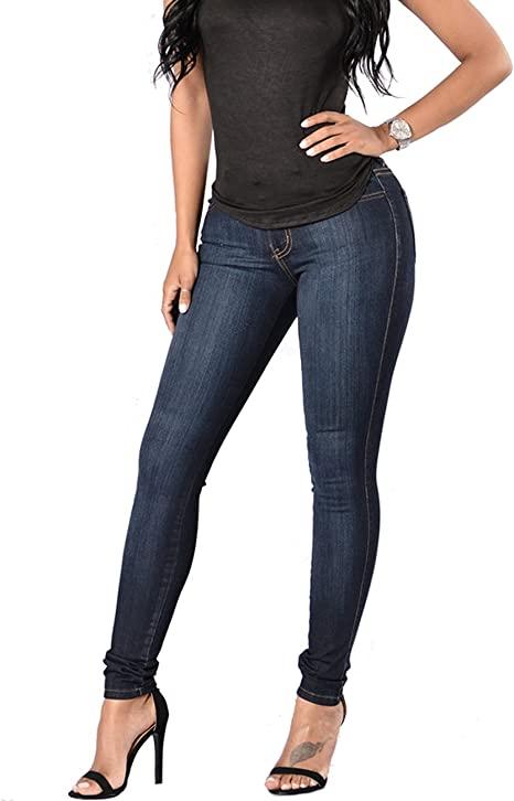 Women's Skinny Jean Leggings, High Waisted Stretch Slim Denim Butt .