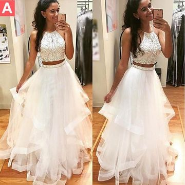 $154.99 Long Junior White A-line Halter Sleeveless Beading Prom .