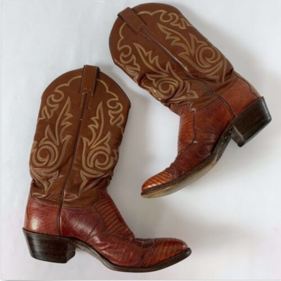 Justin Boots Shoes | Justin Western Boots Men Cognac Brown Lizard .