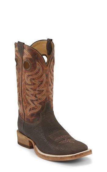"11"" SQ TOE DK BRN W/TAN TOP - western boots, jeans and ha"