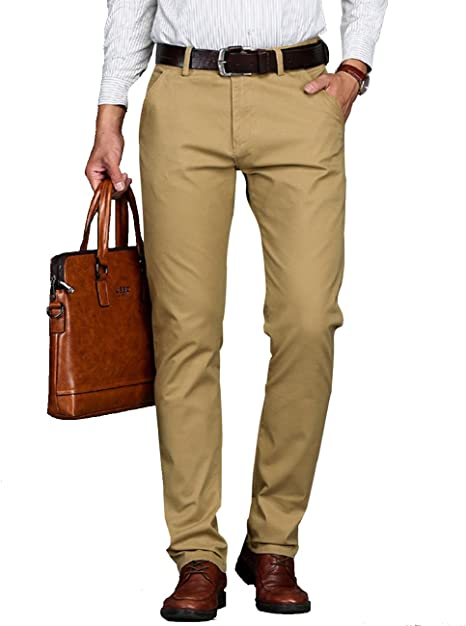 Vomint Men Pant Casual Business Stretch Trousers Khaki Black Brown .