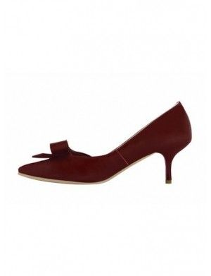 EUGER Bow Kitten Heel Pumps|Red| In Shoes | JESSICABUURM