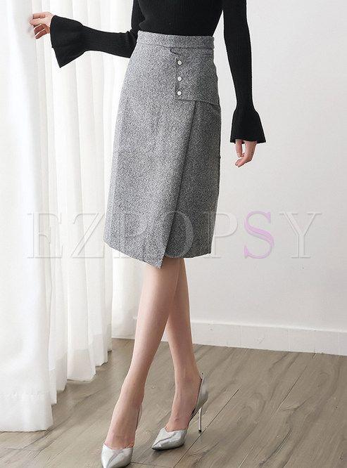 High Waist Easy-matching Knee-length Skirt | Skirt fashion, Pencil .