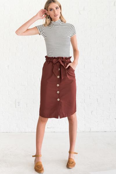 Trend-Setter Brick Red Knee-Length Skirt | Red Button-Up Skir