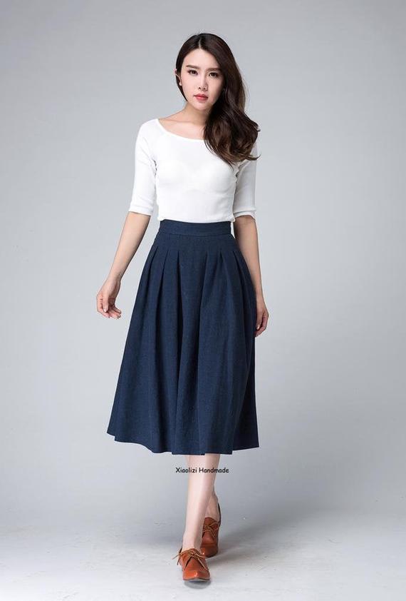 High waist skirt midi skirt knee length skirt dark blue | Et