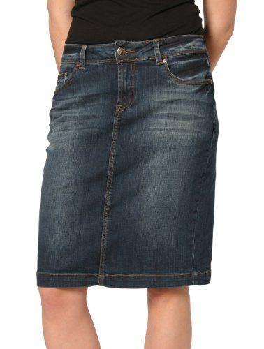 Ladies Denim Knee Length Skirt - Red Fashion Skirt | Fashion .