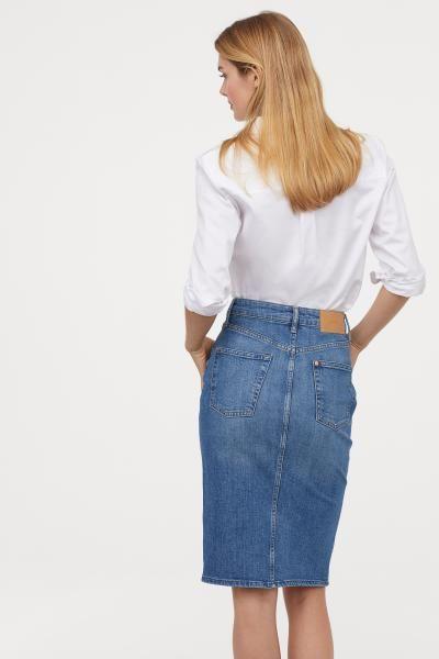Knee-length Denim Skirt | Skirt outfits modest, Casual skirt .