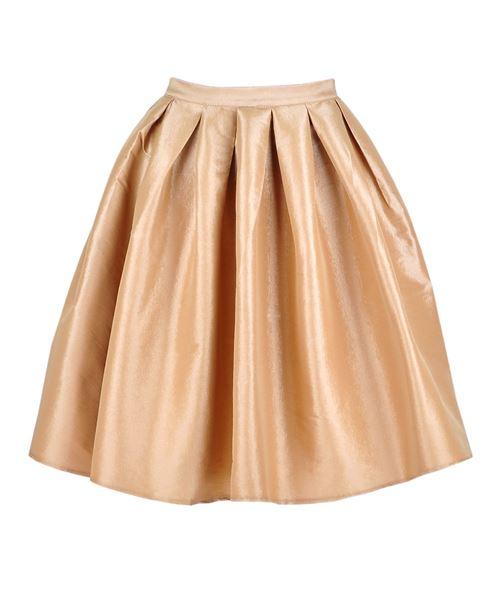Get The Looks Online Wardrobe. Full Pleated Knee-length Skirt in Bei