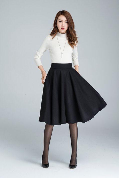Wool circle skirt, midi winter skirt, skater skirt, knee length .