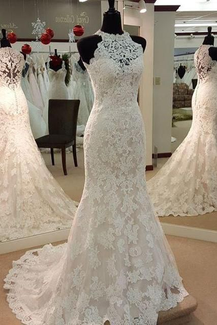 Wedding dresses,high neck wedding dresses, bridal gown,lace .