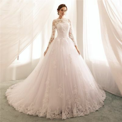 2019 Princess Long Sleeve Lace Wedding Dresses Boat Neck Ball Gown .