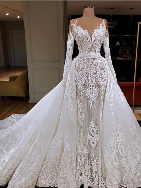 A-line Princess Heart Neck Long Sleeve Lace Long Bridal Dresses .