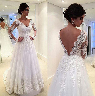 Lace Wedding Dresses,Long Sleeves Wedding Gowns,White Bridal Gowns .