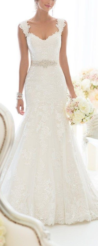 Elegant Off-Shoulder Crystal Lace Wedding Dress | Wedding dresses .