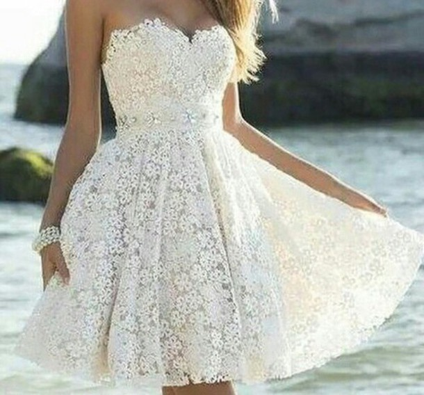 Custom Made A Line Strapless Lace Prom Dresses, Short Formal .
