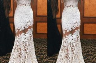 $152.99 Long White Mermaid Sleeveless Appliques Prom Dresses 2020 La