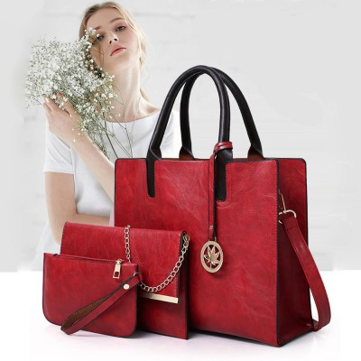 Ladies Handbag Set - Frosted PU Leather Lady Handbag & Shoulder .