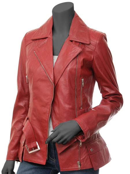 Victoria Womens Red Leather Moto Jack