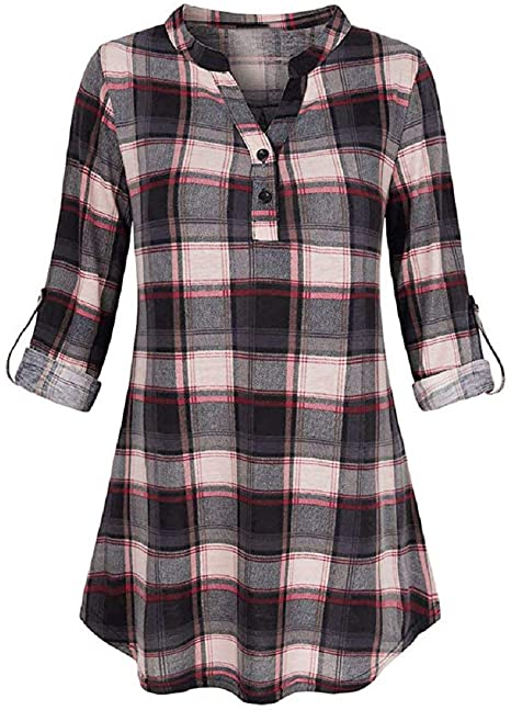 Amazon.com: Tops for Women LJSGB Ladies V Neck Tops Plaid Bluse .